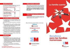 Folleto cara uno Familias Numerosas de Madrid